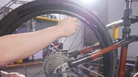 Concepto del servicio de la bicicleta Un hombre joven repara y mantiene una bicicleta en el taller almacen de video