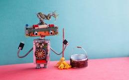 Concepto del servicio de la limpieza Piso que aljofifa de la lavadora amistosa del robot Juguete creativo del cyborg del diseño c Fotografía de archivo libre de regalías