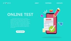 Concepto del servicio de la prueba en línea o del examen ilustración del vector