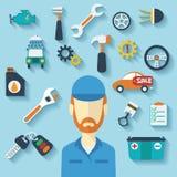 Concepto del servicio del coche con los iconos y el mecánico planos