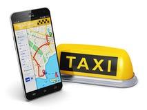 Concepto del servicio del taxi de Internet Foto de archivo libre de regalías