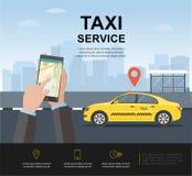 Concepto del servicio del taxi bandera, cartel o página web, plantilla del fondo stock de ilustración