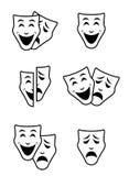 Concepto del sistema del vector de los símbolos de la máscara del teatro, triste y feliz Fotos de archivo libres de regalías