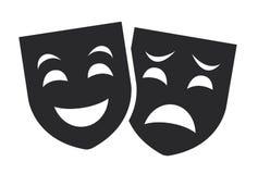 Concepto del sistema del vector de los símbolos de la máscara del teatro, triste y feliz Imágenes de archivo libres de regalías