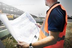 Concepto del sitio de Assistance Building Construction del arquitecto imagen de archivo libre de regalías