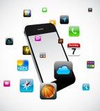Concepto del smartphone de la pantalla táctil. ilustración del vector