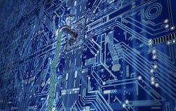 Concepto del software permeable, datos con un golpecito que se pega hacia fuera ilustración del vector