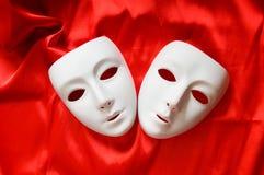 Concepto del teatro - máscaras blancas Imágenes de archivo libres de regalías