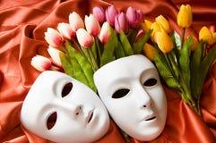 Concepto del teatro - máscaras blancas Imagen de archivo libre de regalías