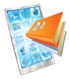 Concepto del teléfono del app del libro Imágenes de archivo libres de regalías