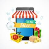 Concepto del teléfono móvil de la tienda en línea Vector Imagen de archivo