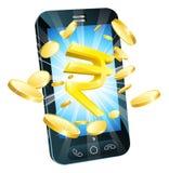 Concepto del teléfono del dinero de la rupia Foto de archivo libre de regalías