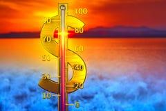 Concepto del termómetro del dólar Imagen de archivo libre de regalías
