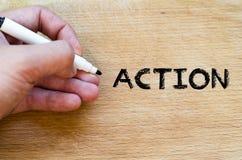 Concepto del texto de la acción Imagenes de archivo