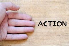 Concepto del texto de la acción Imagen de archivo libre de regalías