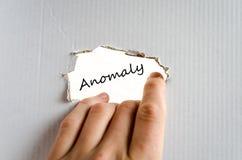 Concepto del texto de la anomalía Fotografía de archivo libre de regalías