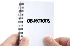 Concepto del texto de las objeciones fotografía de archivo libre de regalías