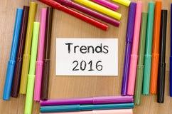 Concepto del texto de las tendencias 2016 Fotos de archivo libres de regalías
