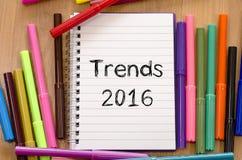 Concepto del texto de las tendencias 2016 Foto de archivo