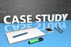 Concepto del texto del estudio de caso imagen de archivo