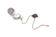 Concepto del tiempo con el reloj y la tortuga aislados Imagen de archivo libre de regalías