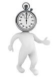 Concepto del tiempo en marcha. persona 3d como cronómetro Foto de archivo libre de regalías