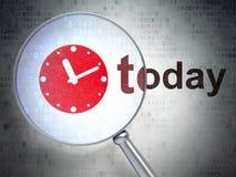 Concepto del tiempo: Reloj y hoy con el vidrio óptico libre illustration