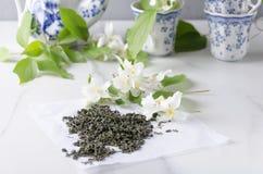 Concepto del tiempo del t? Tazas y tetera, té verde y flores frescas del jazmín en la tabla blanca imagen de archivo libre de regalías