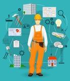 Concepto del trabajador del hombre del constructor con los iconos planos Profesiones de la construcción y del edificio Fotografía de archivo