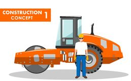 Concepto del trabajador Ejemplo detallado del trabajador y del compresor en estilo plano en el fondo blanco Construcción pesada Imagen de archivo