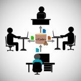 Concepto del trabajo en equipo, compartiendo código o ficheros entre diversos equipos de desarrollo Imagen de archivo libre de regalías
