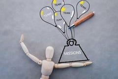 Concepto del trabajo en equipo con la figura y el dibujo de madera del peso y de los vagos Foto de archivo libre de regalías