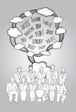 Concepto del trabajo en equipo con palabras de moda y nubes Imagenes de archivo