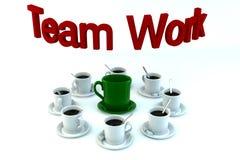 Concepto del trabajo en equipo de las tazas del coffe Imagenes de archivo