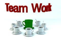 Concepto del trabajo en equipo de las tazas del coffe Imagen de archivo libre de regalías