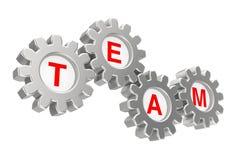 Concepto del trabajo en equipo Mecanismo de engranaje con Team Sign representación 3d Fotos de archivo