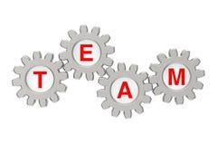 Concepto del trabajo en equipo Mecanismo de engranaje con Team Sign representación 3d Fotografía de archivo