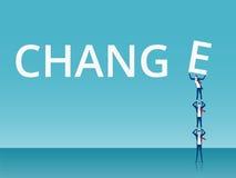 Concepto del trabajo en equipo y del cambio Equipo del negocio que aumenta y que empuja E a la palabra acertada del encanto ilustración del vector
