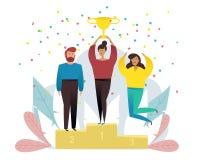 Concepto del triunfo con los caracteres Negocio del ganador y concepto del logro ?xito de asunto ilustración del vector