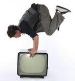 Concepto del truco de los media TV foto de archivo