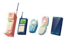 Concepto del vector de la historieta de la evolución de los teléfonos móviles stock de ilustración