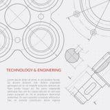 Concepto del vector de la ingeniería con la parte del dibujo técnico de la maquinaria ilustración del vector