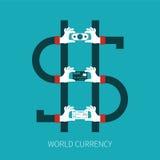 Concepto del vector de la moneda del mundo en estilo plano ilustración del vector