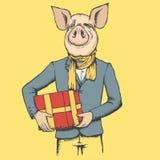 Concepto del vector de la Navidad del cerdo y del Año Nuevo libre illustration