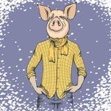Concepto del vector de la Navidad del cerdo y del Año Nuevo stock de ilustración