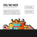 Concepto del vector de los alimentos de preparación rápida Patatas fritas del almuerzo, pollo, buñuelo, pi Fotos de archivo libres de regalías