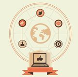 Concepto del vector de media y de comercialización sociales Imagen de archivo libre de regalías