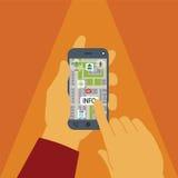 Concepto del vector de navegación de los gps en smartphone Fotos de archivo libres de regalías