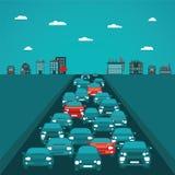 Concepto del vector del tráfico urbano en estilo plano Foto de archivo libre de regalías