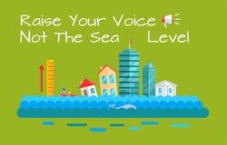 Concepto del vector el calentarse y del aumento del nivel del mar libre illustration